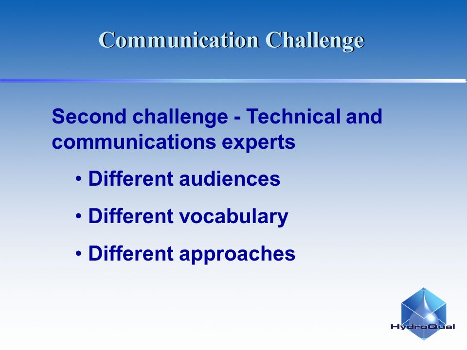 Second challenge - Technical and communications experts Different audiences Different vocabulary Different approaches Communication Challenge