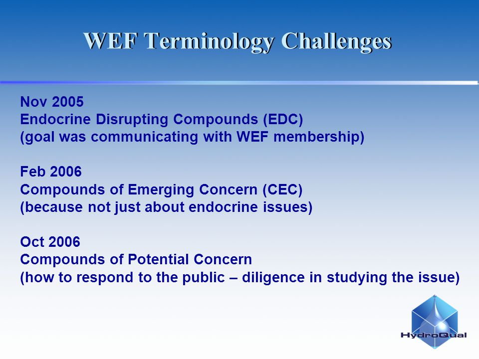 Nov 2005 Endocrine Disrupting Compounds (EDC) (goal was communicating with WEF membership) Feb 2006 Compounds of Emerging Concern (CEC) (because not just about endocrine issues) Oct 2006 Compounds of Potential Concern (how to respond to the public – diligence in studying the issue) WEF Terminology Challenges