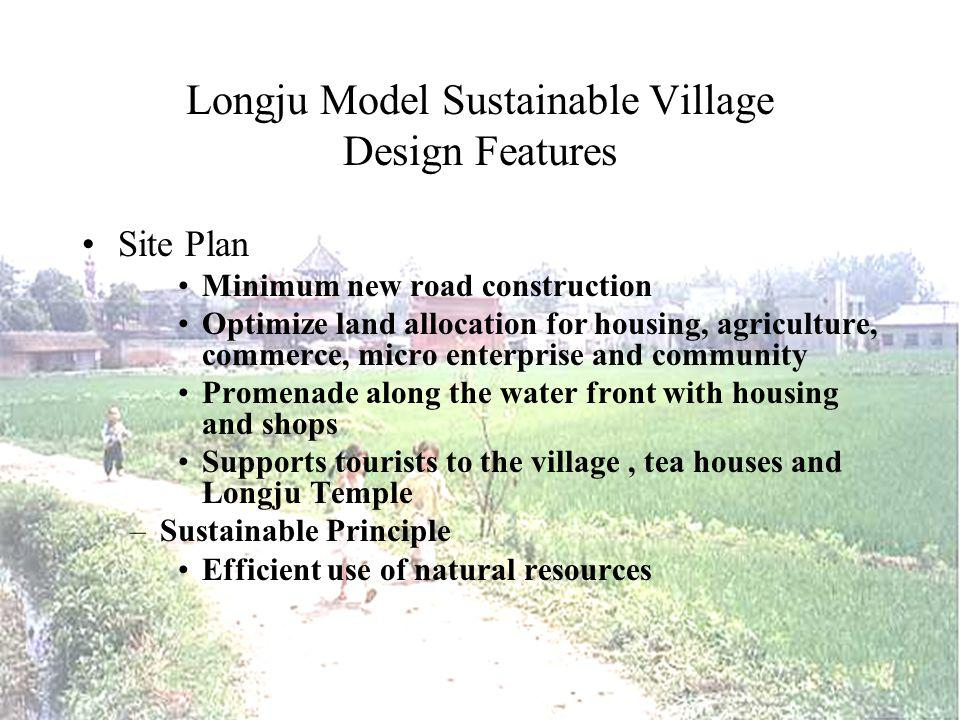 Longju Model Sustainable Village Design Features Site Plan Minimum new road construction Optimize land allocation for housing, agriculture, commerce, micro enterprise and community Promenade along the water front with housing and shops Supports tourists to the village, tea houses and Longju Temple –Sustainable Principle Efficient use of natural resources