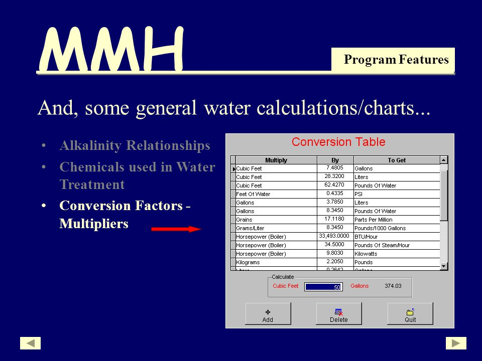 MMH Program Features Alkalinity Relationships Chemicals used in Water Treatment And, some general water calculations/charts...
