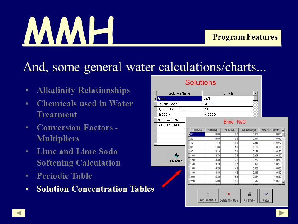 MMH Program Features Alkalinity Relationships Chemicals used in Water Treatment Conversion Factors - Multipliers Lime and Lime Soda Softening Calculation Periodic Table And, some general water calculations/charts...