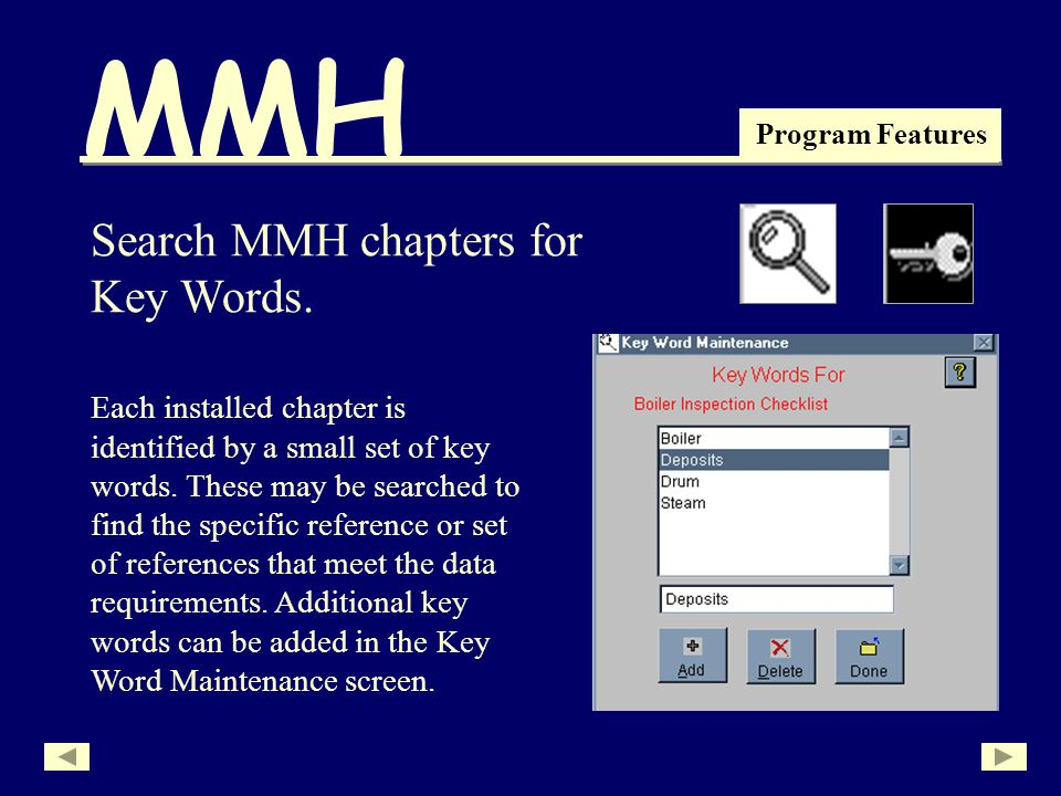 MMH Program Features Search MMH chapters for Key Words.