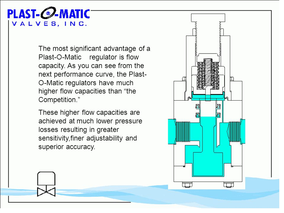 The most significant advantage of a Plast-O-Matic regulator is flow capacity.
