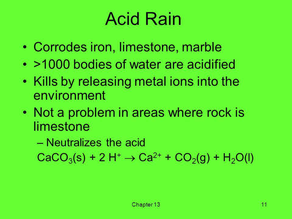 Chapter 1311 Acid Rain Corrodes iron, limestone, marble >1000 bodies of water are acidified Kills by releasing metal ions into the environment Not a problem in areas where rock is limestone –Neutralizes the acid CaCO 3 (s) + 2 H + Ca 2+ + CO 2 (g) + H 2 O(l)