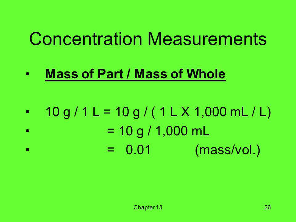 Chapter 1326 Concentration Measurements Mass of Part / Mass of Whole 10 g / 1 L = 10 g / ( 1 L X 1,000 mL / L) = 10 g / 1,000 mL = 0.01 (mass/vol.)