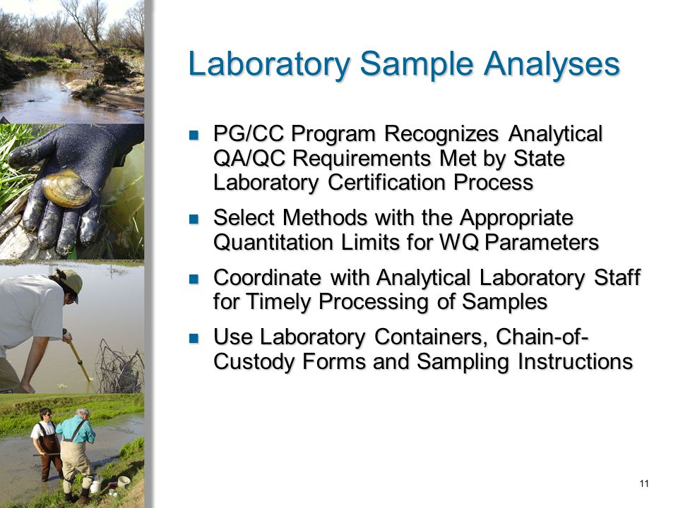 11 Laboratory Sample Analyses PG/CC Program Recognizes Analytical QA/QC Requirements Met by State Laboratory Certification Process PG/CC Program Recognizes Analytical QA/QC Requirements Met by State Laboratory Certification Process Select Methods with the Appropriate Quantitation Limits for WQ Parameters Select Methods with the Appropriate Quantitation Limits for WQ Parameters Coordinate with Analytical Laboratory Staff for Timely Processing of Samples Coordinate with Analytical Laboratory Staff for Timely Processing of Samples Use Laboratory Containers, Chain-of- Custody Forms and Sampling Instructions Use Laboratory Containers, Chain-of- Custody Forms and Sampling Instructions