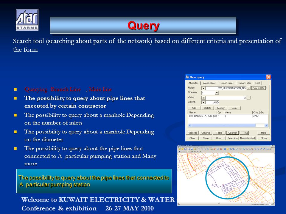 Welcome to KUWAIT ELECTRICITY & WATER CONTRACTORS Conference & exhibition 26-27 MAY 2010 Querying Branch Line, Main line Querying Branch Line, Main line The possibility to query about pipe lines that executed by certain contractor The possibility to query about pipe lines that executed by certain contractor The possibility to query about a manhole Depending on the number of inlets The possibility to query about a manhole Depending on the number of inlets The possibility to query about a manhole Depending on the diameter The possibility to query about a manhole Depending on the diameter The possibility to query about the pipe lines that connected to A particular pumping station and Many more The possibility to query about the pipe lines that connected to A particular pumping station and Many more The possibility to query about the pipe lines that connected to A particular pumping station QueryQuery Search tool (searching about parts of the network) based on different criteria and presentation of the form