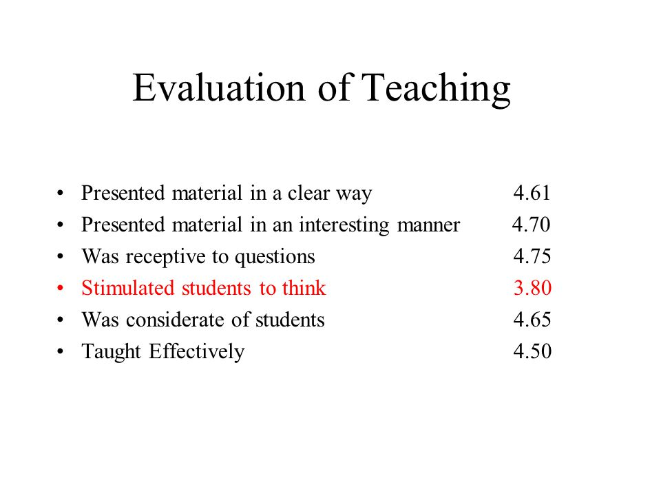Evaluation of Teaching Presented material in a clear way 4.61 Presented material in an interesting manner 4.70 Was receptive to questions 4.75 Stimulated students to think 3.80 Was considerate of students 4.65 Taught Effectively 4.50