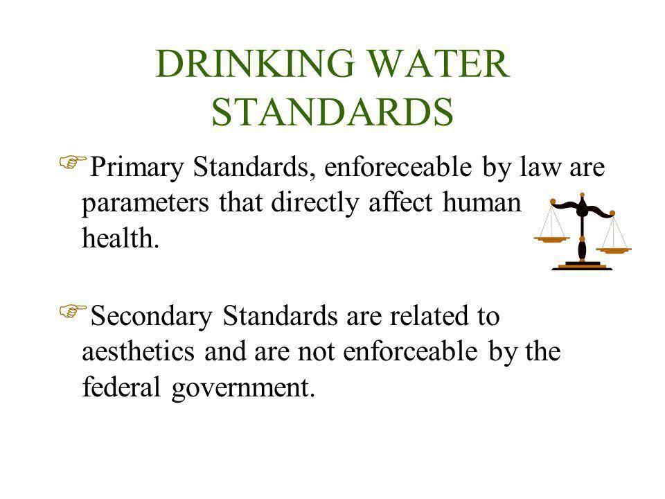 DRINKING WATER STANDARDS Primary Standards, enforeceable by law are parameters that directly affect human health.