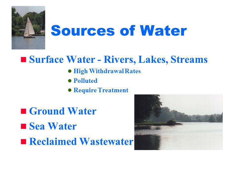 Sources of Water Surface Water - Rivers, Lakes, Streams High Withdrawal Rates Polluted Require Treatment Ground Water Sea Water Reclaimed Wastewater