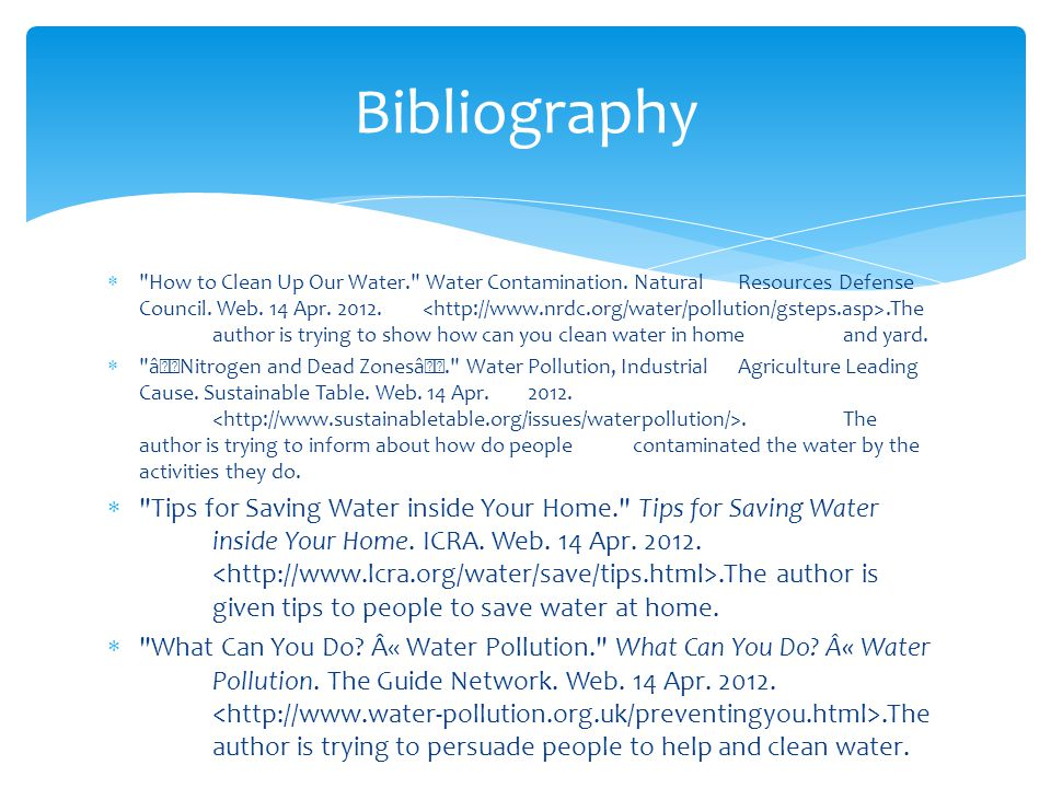 How to Clean Up Our Water. Water Contamination. Natural Resources Defense Council.