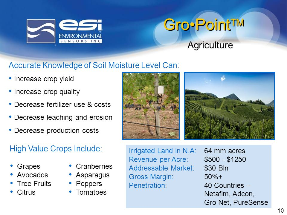10 Accurate Knowledge of Soil Moisture Level Can: Increase crop yield Increase crop quality Decrease fertilizer use & costs Decrease leaching and erosion Decrease production costs High Value Crops Include: Cranberries Asparagus Peppers Tomatoes Grapes Avocados Tree Fruits Citrus GroPoint TM Agriculture Irrigated Land in N.A:64 mm acres Revenue per Acre:$500 - $1250 Addressable Market:$30 Bln Gross Margin:50%+ Penetration:40 Countries – Netafim, Adcon, Gro Net, PureSense