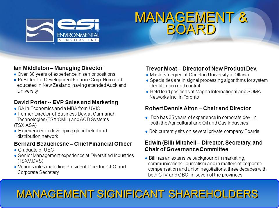 6 MANAGEMENT SIGNIFICANT SHAREHOLDERS MANAGEMENT & BOARD Ian Middleton – Managing Director Over 30 years of experience in senior positions President of Development Finance Corp.