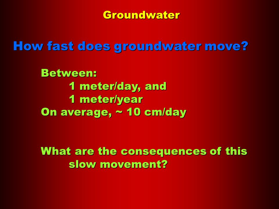 Groundwater How fast does groundwater move.