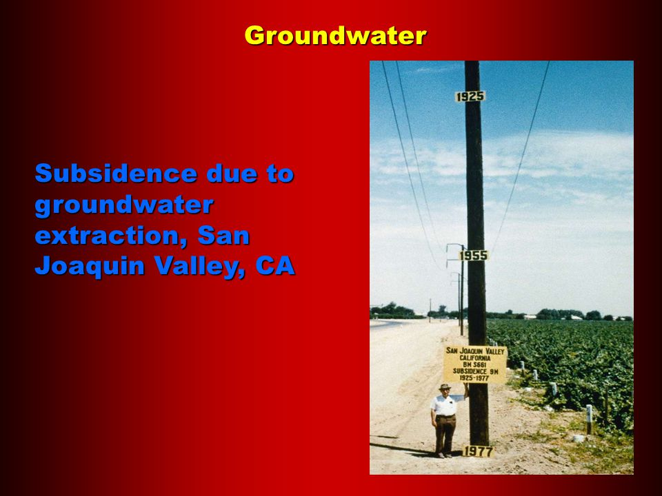 Groundwater Subsidence due to groundwater extraction, San Joaquin Valley, CA