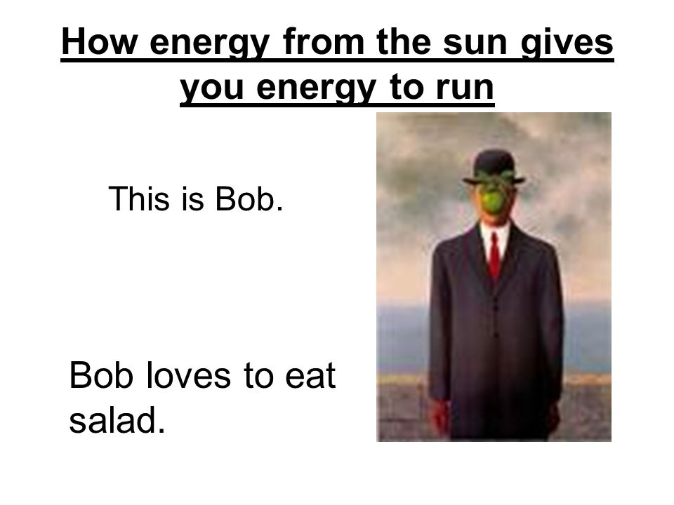 How energy from the sun gives you energy to run This is Bob. Bob loves to eat salad.