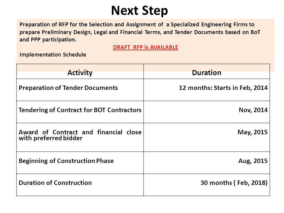 Next Step Preparation of RFP for the Selection and Assignment of a Specialized Engineering Firms to prepare Preliminary Design, Legal and Financial Terms, and Tender Documents based on BoT and PPP participation.