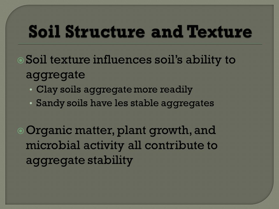 Soil texture influences soils ability to aggregate Clay soils aggregate more readily Sandy soils have les stable aggregates Organic matter, plant growth, and microbial activity all contribute to aggregate stability