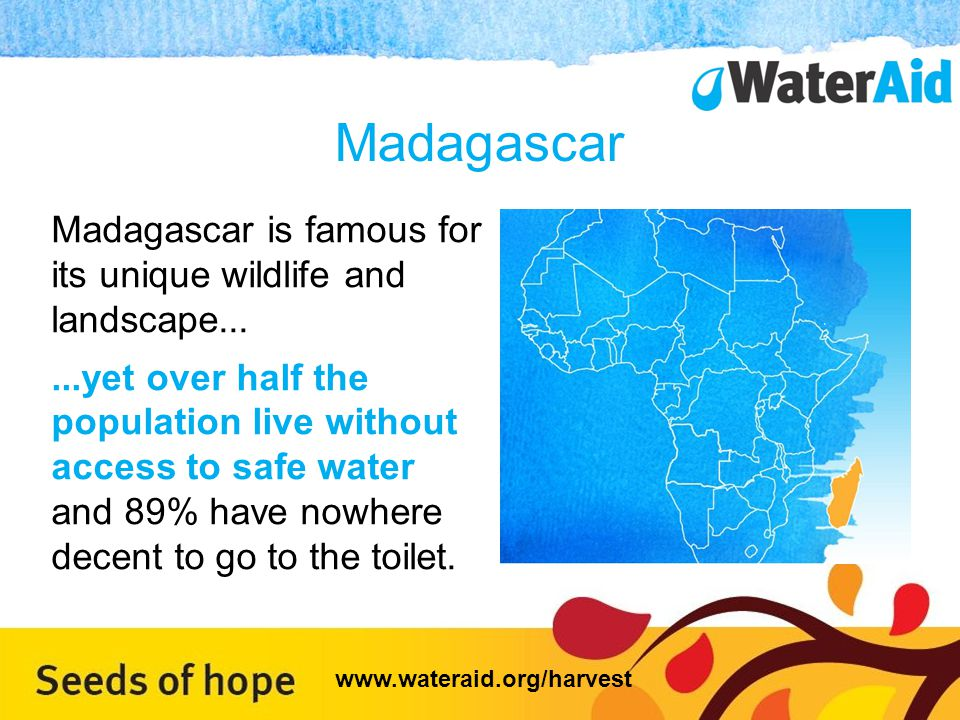Madagascar Madagascar is famous for its unique wildlife and landscape......yet over half the population live without access to safe water and 89% have nowhere decent to go to the toilet.