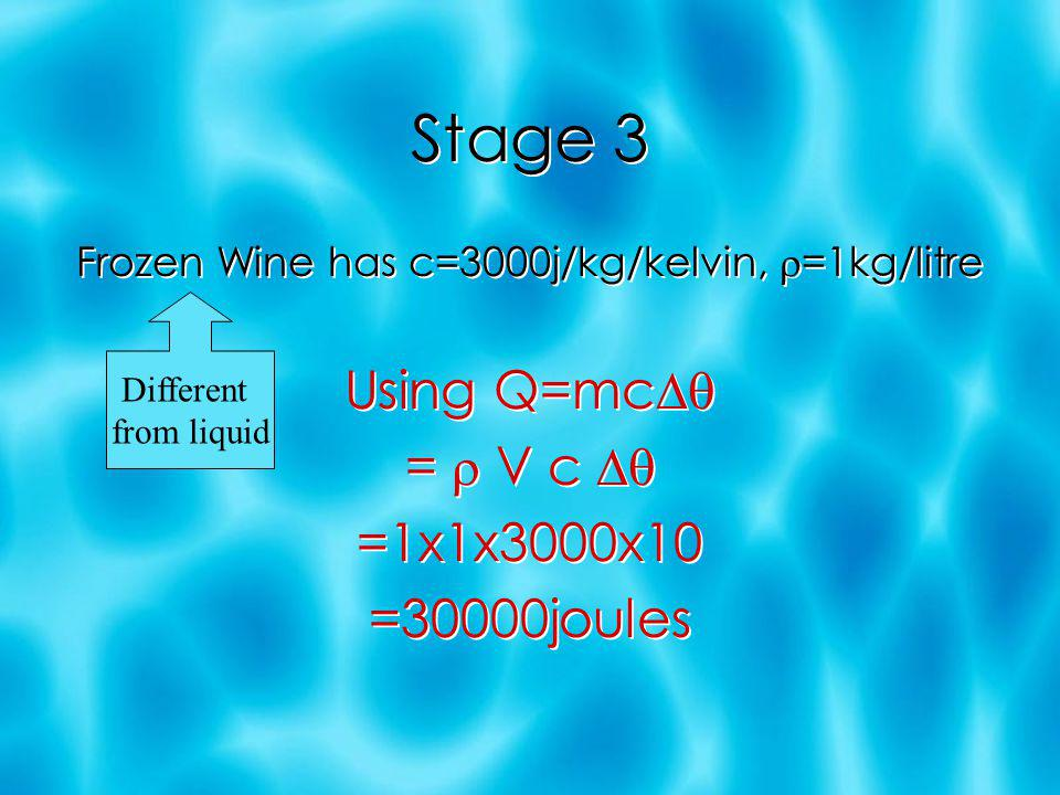 Stage 2 Wine has latent heat of fussion l = 300000j/kg Using Q=ml = V l =1x1x300000 =300000joules Wine has latent heat of fussion l = 300000j/kg Using Q=ml = V l =1x1x300000 =300000joules