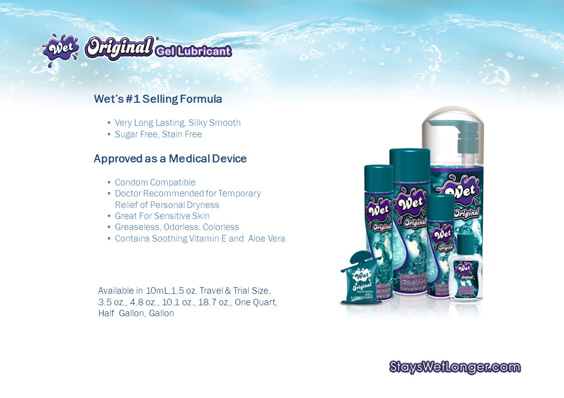 Wets #1 Selling Formula Very Long Lasting, Silky Smooth Sugar Free, Stain Free Approved as a Medical Device Condom Compatible Doctor Recommended for Temporary Relief of Personal Dryness Great For Sensitive Skin Greaseless, Odorless, Colorless Contains Soothing Vitamin E and Aloe Vera Available in 10mL,1.5 oz.