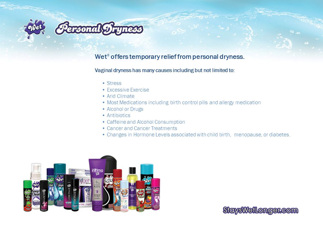Wet ® offers temporary relief from personal dryness.