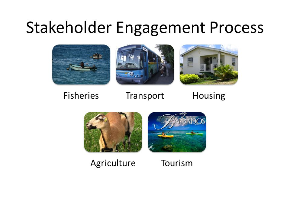 Stakeholder Engagement Process FisheriesTransportHousing AgricultureTourism