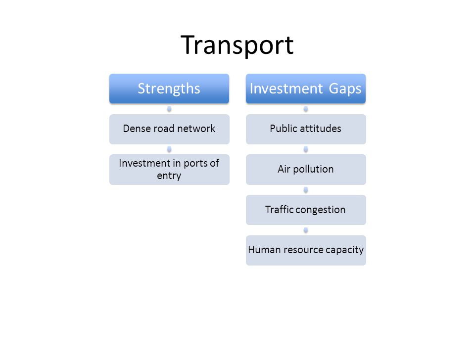 Transport Strengths Dense road network Investment in ports of entry Investment Gaps Public attitudesAir pollutionTraffic congestionHuman resource capacity