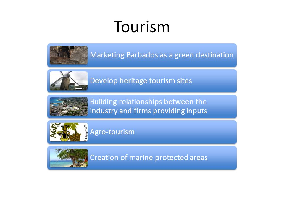 Tourism Marketing Barbados as a green destination Develop heritage tourism sites Building relationships between the industry and firms providing inputs Agro-tourism Creation of marine protected areas