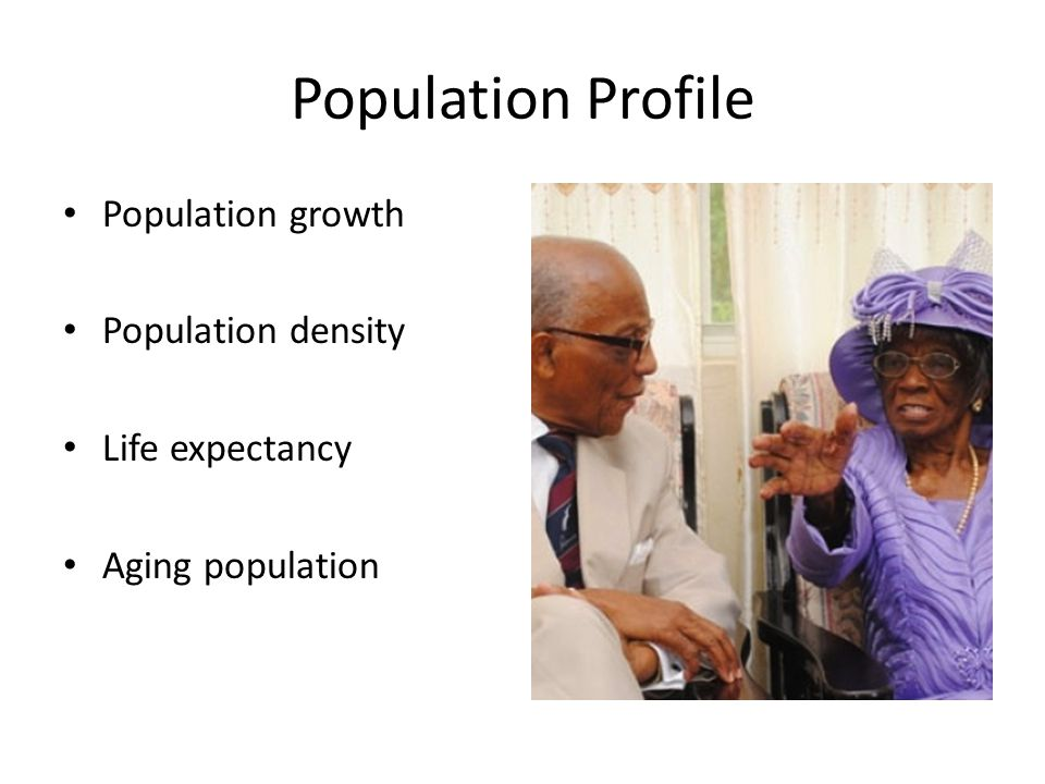 Population Profile Population growth Population density Life expectancy Aging population