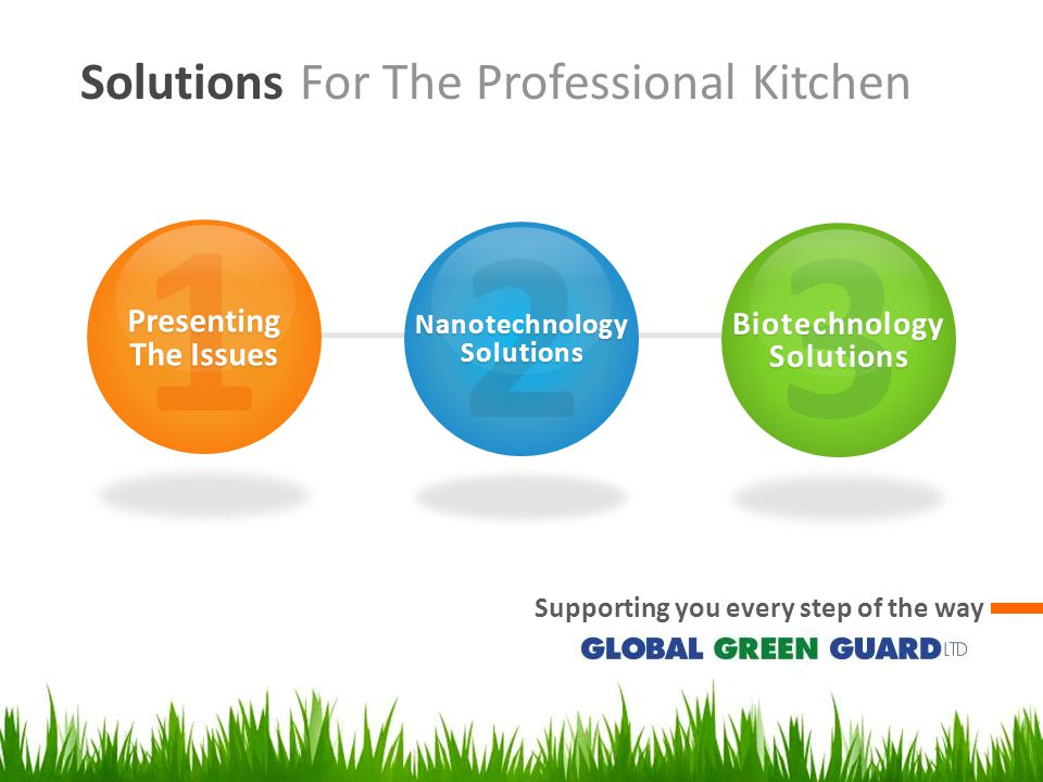 Solutions For The Professional Kitchen Supporting you every step of the way 1 Presenting The Issues 2 Nanotechnology Solutions 3 Biotechnology Solutions