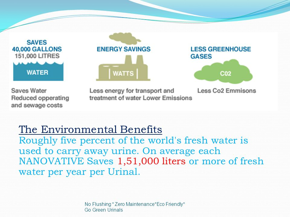 The Environmental Benefits Roughly five percent of the world s fresh water is used to carry away urine.