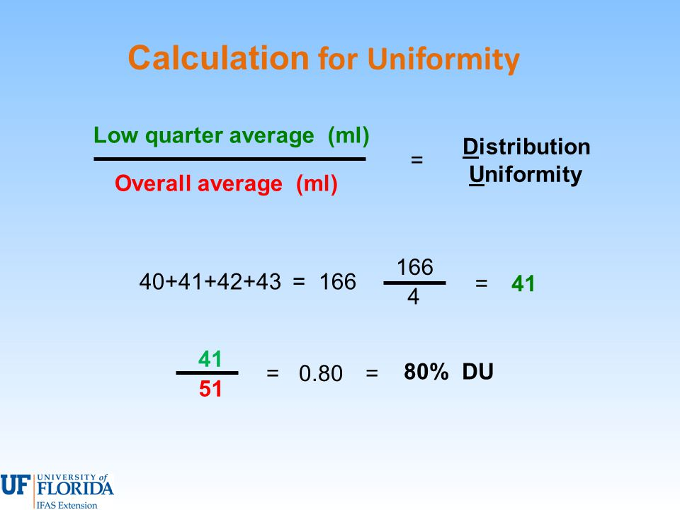 Calculation for Uniformity 40+41+42+43 = 166 =41 4 Distribution Uniformity Overall average (ml) Low quarter average (ml) = 0.80= 80% DU = 41 51 166
