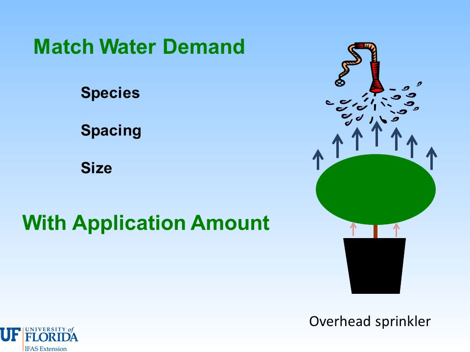 Match Water Demand Overhead sprinkler With Application Amount Species Spacing Size