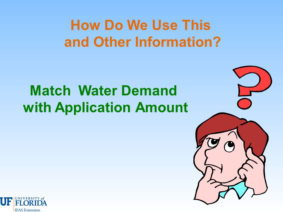 How Do We Use This and Other Information Match Water Demand with Application Amount