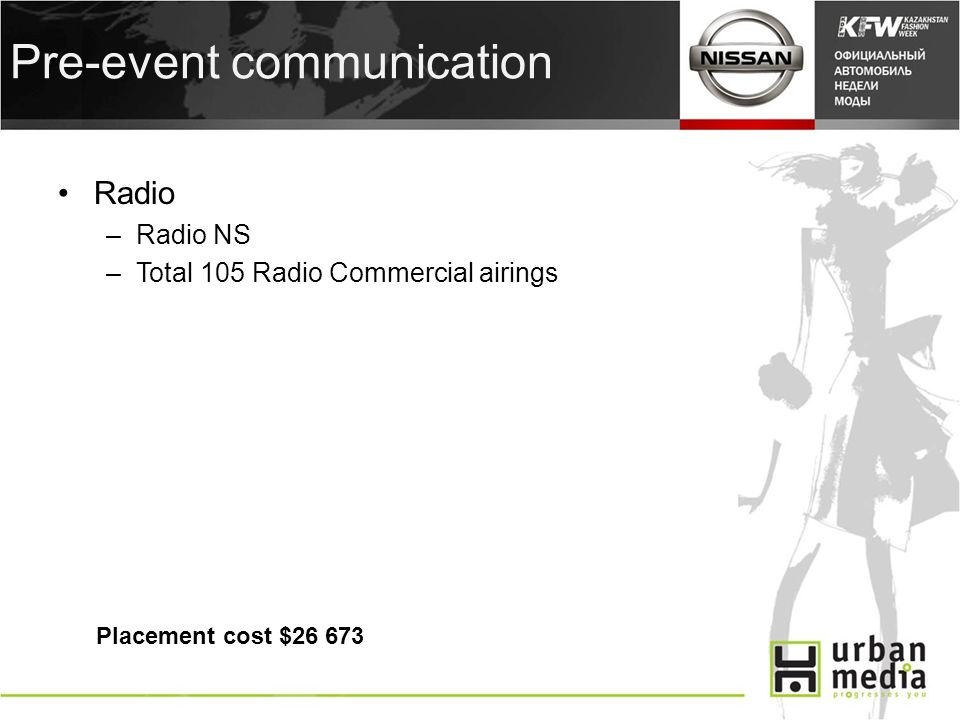 Pre-event communication Radio –Radio NS –Total 105 Radio Commercial airings Placement cost $26 673