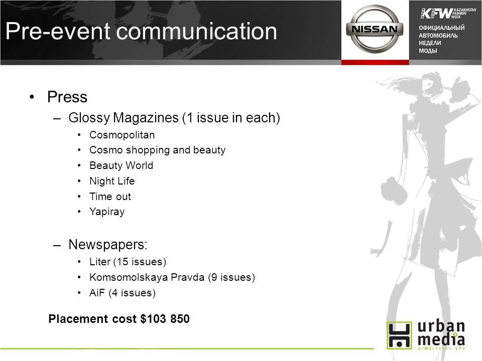 Pre-event communication Press –Glossy Magazines (1 issue in each) Cosmopolitan Cosmo shopping and beauty Beauty World Night Life Time out Yapiray –Newspapers: Liter (15 issues) Komsomolskaya Pravda (9 issues) AiF (4 issues) Placement cost $103 850