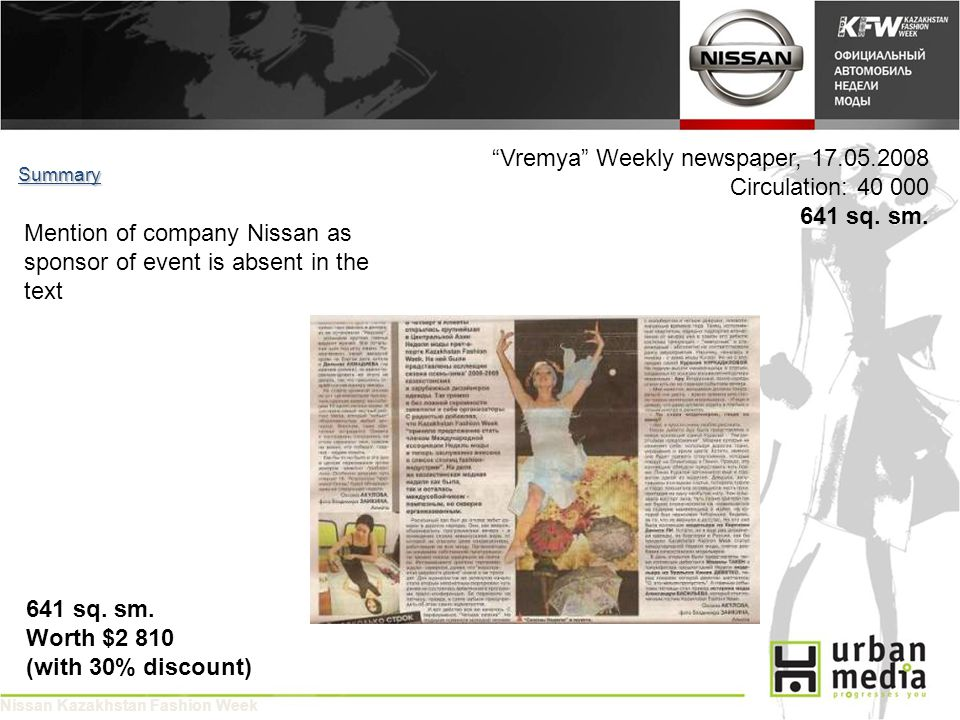 Vremya Weekly newspaper, 17.05.2008 Circulation: 40 000 641 sq.