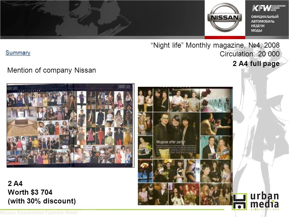 Night life Monthly magazine, 4, 2008 Circulation: 20 000 2 A4 full page Summary 2 A4 Worth $3 704 (with 30% discount) Mention of company Nissan Nissan Kazakhstan Fashion Week