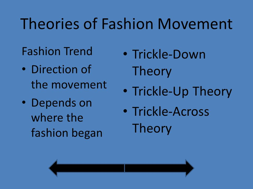 Theories of Fashion Movement Trickle-Down Theory Trickle-Up Theory Trickle-Across Theory Fashion Trend Direction of the movement Depends on where the fashion began