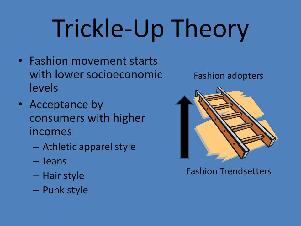 Trickle-Up Theory Fashion movement starts with lower socioeconomic levels Acceptance by consumers with higher incomes – Athletic apparel style – Jeans – Hair style – Punk style Fashion adopters Fashion Trendsetters