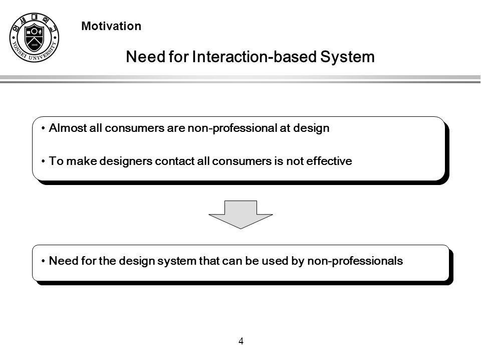 4 Almost all consumers are non-professional at design To make designers contact all consumers is not effective Need for the design system that can be used by non-professionals Need for Interaction-based System Motivation