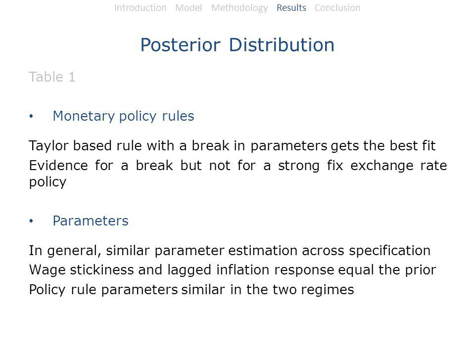 Posterior Distribution Table 1 Monetary policy rules Taylor based rule with a break in parameters gets the best fit Evidence for a break but not for a strong fix exchange rate policy Parameters In general, similar parameter estimation across specification Wage stickiness and lagged inflation response equal the prior Policy rule parameters similar in the two regimes Introduction Model Methodology Results Conclusion