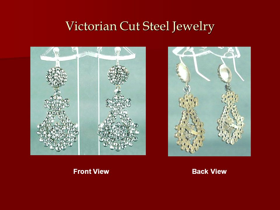 Victorian Cut Steel Jewelry Front ViewBack View