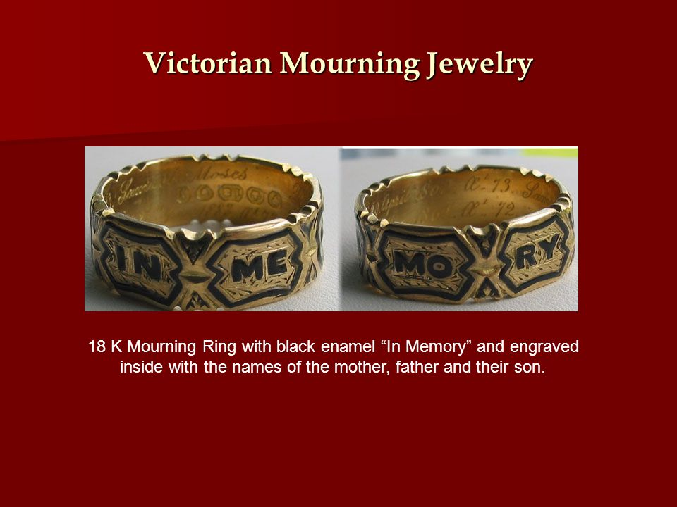 Victorian Mourning Jewelry 18 K Mourning Ring with black enamel In Memory and engraved inside with the names of the mother, father and their son.