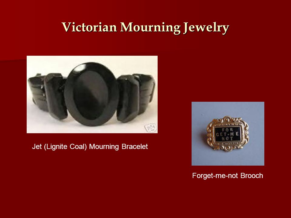 Victorian Mourning Jewelry Jet (Lignite Coal) Mourning Bracelet Forget-me-not Brooch