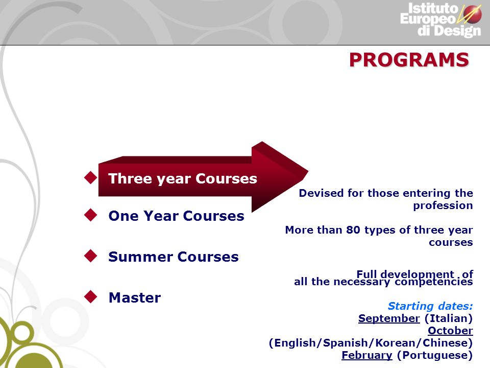 u Three year Courses u One Year Courses u Summer Courses u Master Devised for those entering the profession More than 80 types of three year courses Full development of all the necessary competencies Starting dates: September (Italian) October (English/Spanish/Korean/Chinese) February (Portuguese) PROGRAMS