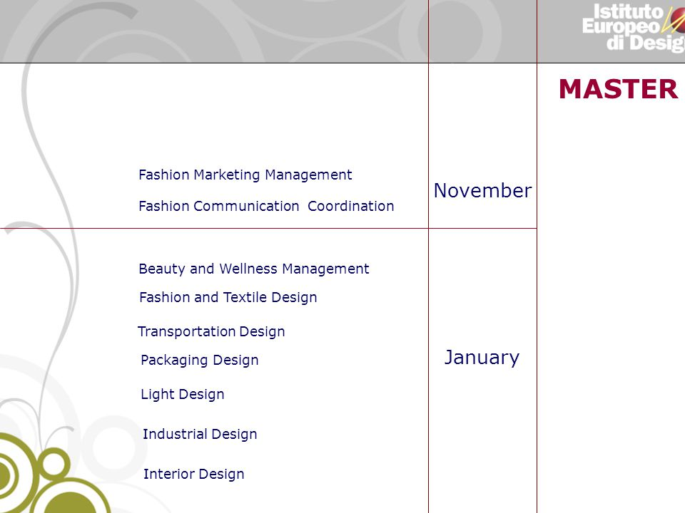 MASTER N Light Design Industrial Design Fashion Marketing Management Fashion Communication Coordination Fashion and Textile Design November January Packaging Design Transportation Design Interior Design Beauty and Wellness Management
