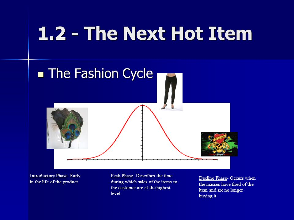 1.2 - The Next Hot Item The Fashion Cycle The Fashion Cycle Introductory Phase- Early in the life of the product Peak Phase- Describes the time during which sales of the items to the customer are at the highest level.