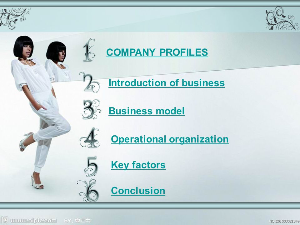 COMPANY PROFILES Introduction of businessBusiness model Operational organization Key factors Conclusion